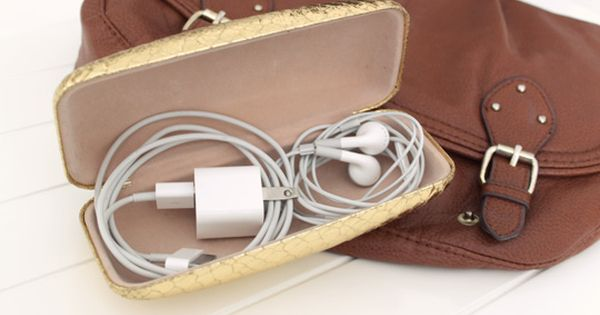 Use a sunglasses case to store cords and cables in your bag.