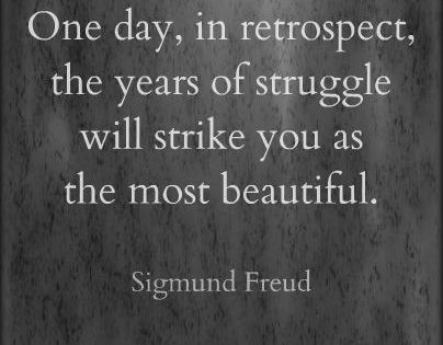 One day, in retrospect, the years of struggle will strike you as