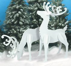 Large White Reindeer Wood Patterns One Christmas One Of My Best Friends Made These Painted Them And Put The Christmas Yard Art Christmas Wood White Reindeer