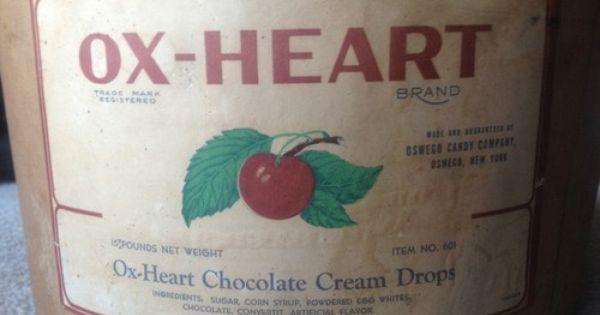 Vintage Ox Heart Chocolate Cream Drops box