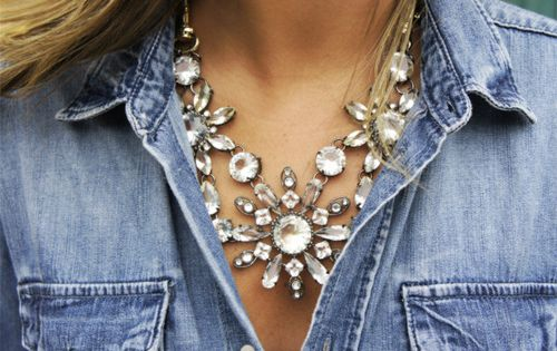 fancy necklace and denim - click through to shop