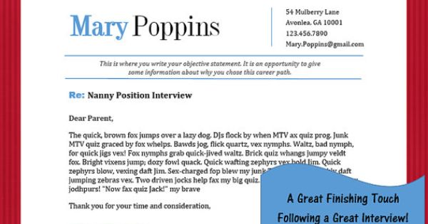 Nanny Interview Thank You Note Template