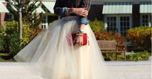 DRESSY FALL/WINTER Atlantic-Pacific: tutu ballerina skirt + plaid shirt + chunky pearls