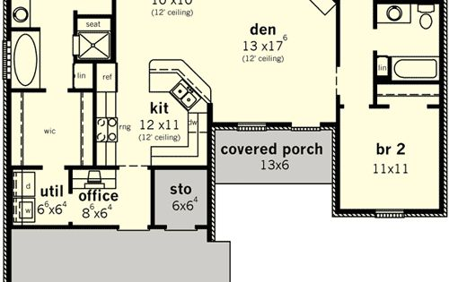Plan 83099dc split bedroom home for narrow lot storage for House plans with split bedroom layout