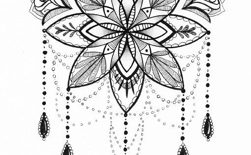Illustration de Mandala - Tattoo Art - stylo et encre dessin -