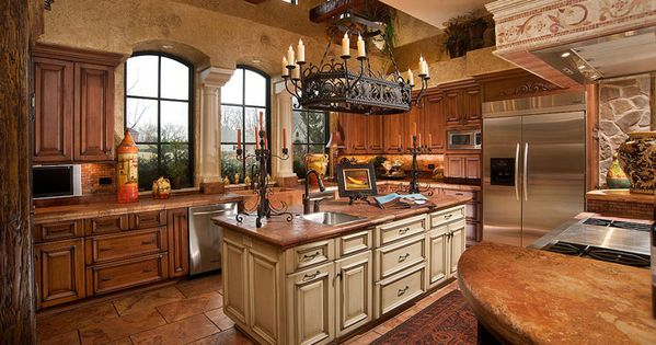 Amusing Traditional Kitchen Designs Ideas With Classic Chandelier And Table Granite Top