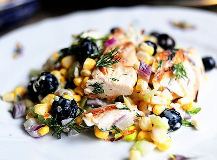 Grilled Chicken Salad with Feta, Fresh Corn, and Blueberries | Recipe ...
