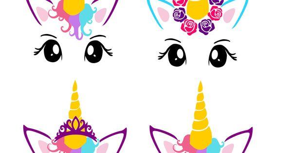Unicorn Faces Pdf Png Amp Svg Dxf Cut File Printable