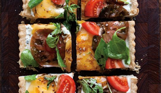 Goat Cheese Heirloom Tomato Tart. food tomatoes tarts brunch lunch