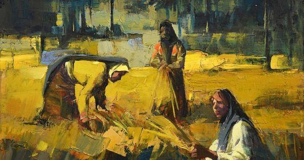 Iraq Art Paintings By Amer Ali مشهد لموسم الحصاد في الريف العراقي باستخدام درجات اللون الاصفر الجميل Painting Arabic Calligraphy Art Calligraphy Art