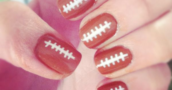 Football Nails! Great for the Superbowl or a big game day. -