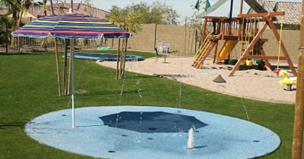 In Ground Trampoline Splash Pad And Swing Set With Sand Perfect