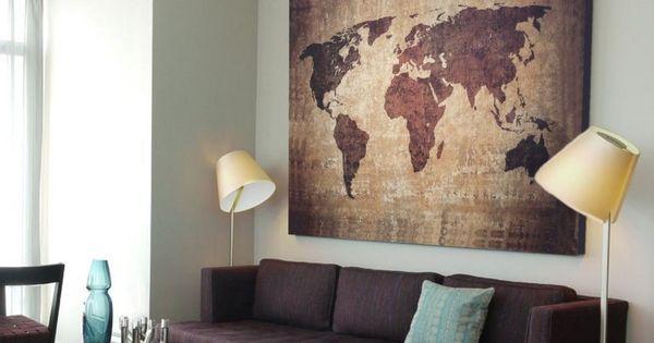 xxl bild 145x95x5 loft design leinwand weltkarte braun gem lde premi r ikea ideen pinterest. Black Bedroom Furniture Sets. Home Design Ideas