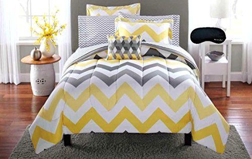 Trendy Yellow Gray Teen Girls Twin Chevron Comforter
