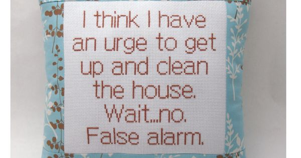 Funny Cross Stitch Sampler | Funny Cross Stitch Pillow, Blue And Brown