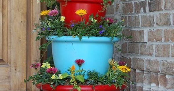 Stacked Pots Via Indulgy Gardening Pinterest Stacked Pots Gardens And Container Gardening