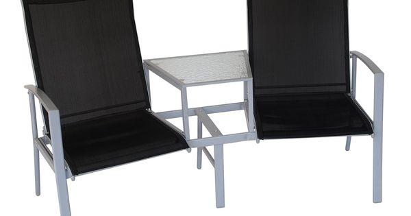Gartenbank Schwarz/ Grau Woody 184-00007 Stahl Modern Jetzt