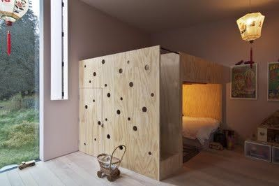 For the playroom - make it a loft bed with curtains to