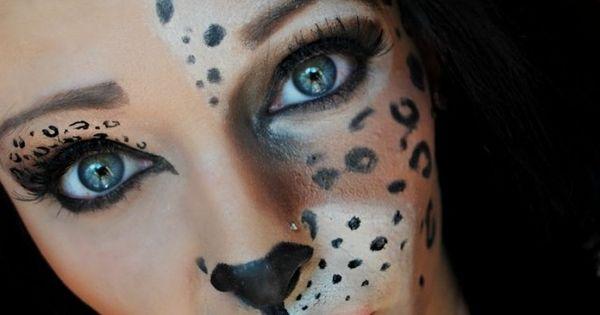 halloween schminke frauen tiere leoparden h lfte gesicht karneval halloween pinterest. Black Bedroom Furniture Sets. Home Design Ideas
