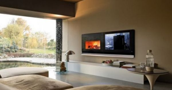 fireplace futuristic audio video entertainment system for