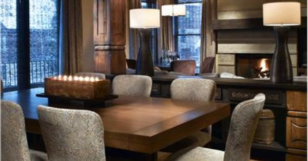 Transitional dining room line the lighting and the chairs for Light colored dining room sets