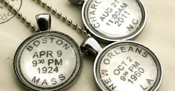 Personalized vintage style postmark necklace to commemorate your special location and date: