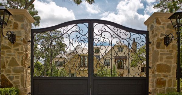 Black Gate Wall Decor : Great black iron gates combined with stone wall design and