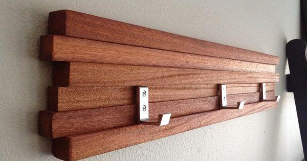 Wood Coat Rack 3 Hook Key Hat Minimalist Modern Wall