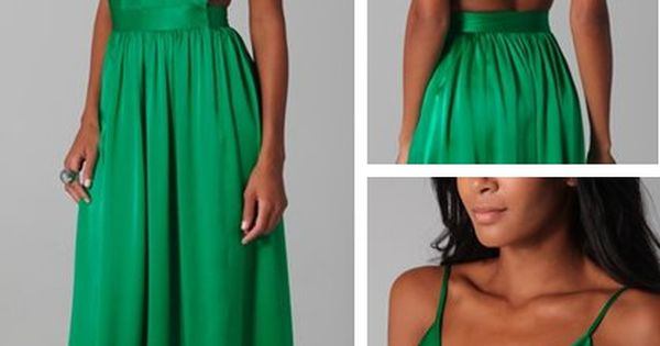 Green & backless dress