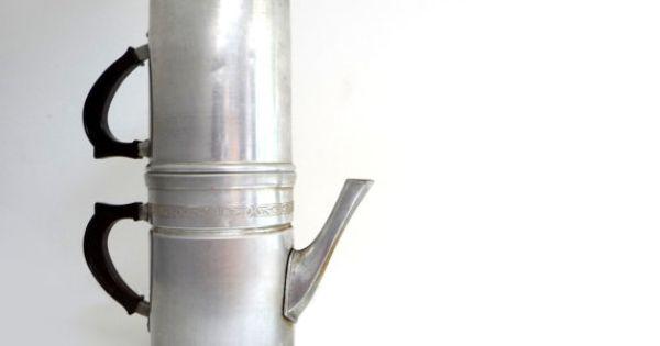 Neapolitan Flip Coffee Pot ~ Vintage big aluminum coffee maker neapolitan flip by