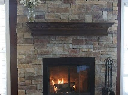 Refaced Fireplace With Manufactured Stone Veneer Love This I Was Just Thinking About Doing
