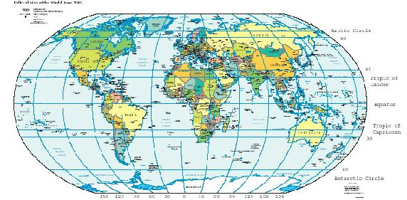 This is a map of the world with dark lines of latitude and ...