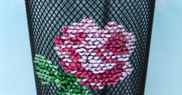 The Craft Patch: Cross Stitch Embroidered Pencil Cup ...