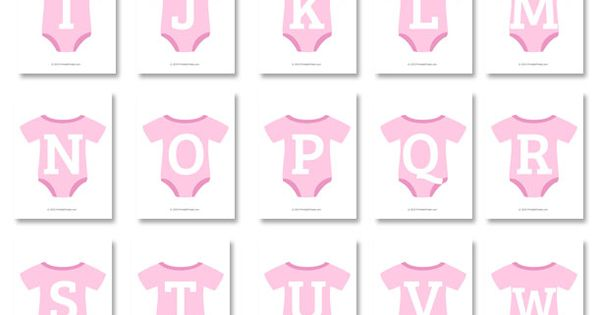 Pink Baby Onesie Shaped Banner Letters Download From