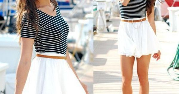 Striped Tee, White flowy skirt with a skinny belt, Very Cute date ...