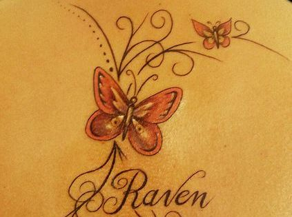 Fascinating tattoos fancy lines and butterflies name for Fancy name tattoos