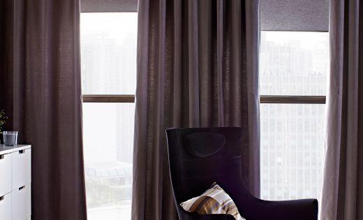 golv till tak f nster med gardiner och rullgardiner fr n. Black Bedroom Furniture Sets. Home Design Ideas