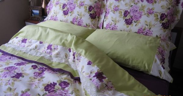 on sale full size bedding set purple green floral duvet cover with pillow cases and flat. Black Bedroom Furniture Sets. Home Design Ideas