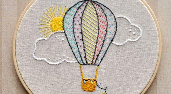Hot air balloon embroidery hoop wall by littleldesignsshop