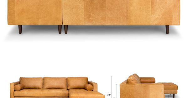 Tan Brown Leather Sectional-Upholstered  Article Sven Modern Furniture  가구