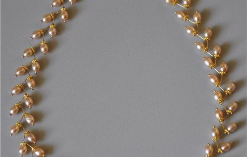Pearl Leaf Necklace DIY, jewelry making, jewelry DIY http://tech.beads.us/details-Pearl-Leaf-Necklace-3017.html