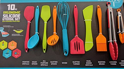 Core Kitchen 10 Piece Silicone Utensil Set In Assorted Colors With Overmold Solid Core Silicon Utensils Utensil