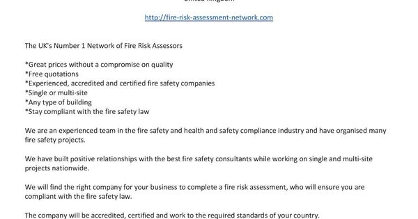 Pin by Fire Risk Assessment Network on Fire Risk Assessments - health safety risk assessment