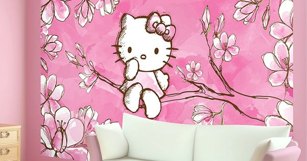 Hello kitty cherry tree blossom photo wallpaper wall mural for Cn mural designs