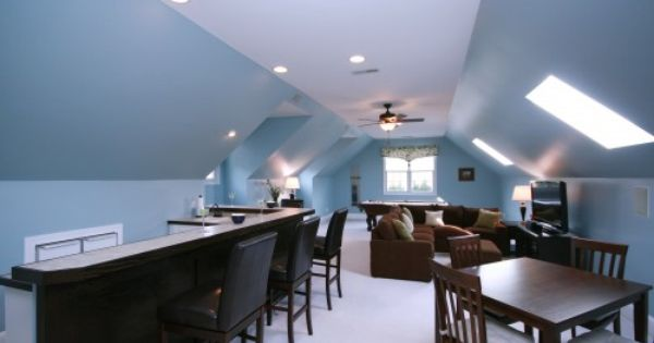 Solving The Stairs As Room Divider Dilemma Open Up Walls And Create Counter Space Overlooking The Stairwell Bonus Room Design Attic Rooms Media Room Design
