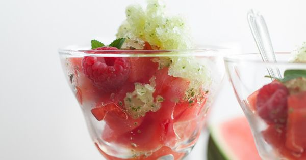 Fresh Mint Granita with Watermelon and Raspberries | Recipe | Summer ...