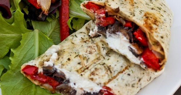 Portobello Mushroom, Roasted Red Pepper Goat Cheese Wrap | http://bsinthekitchen.com wrap lunch