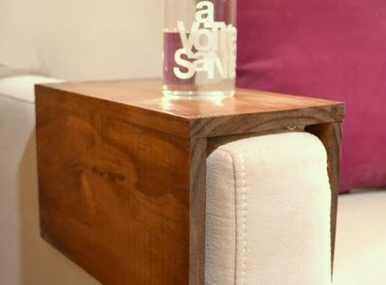 DIY wooden couch sleeve. Creative alternative to the end table or coffee