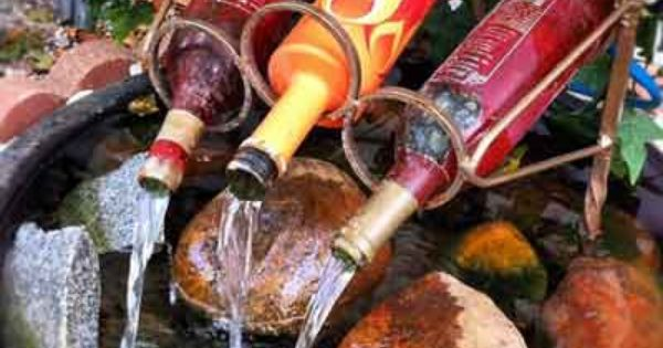 How To Make A Wine Bottle Fountain Or Just Be Inspired Fountain Fountain And