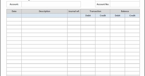 General Ledger Sheet Template Double Entry Bookkeeping Double